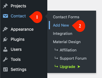 Adding new Contact Form 7 form with Material Design