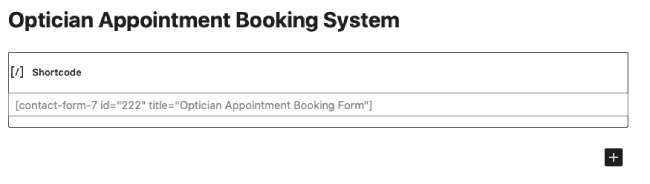 Appointment bookings system with a shortcode