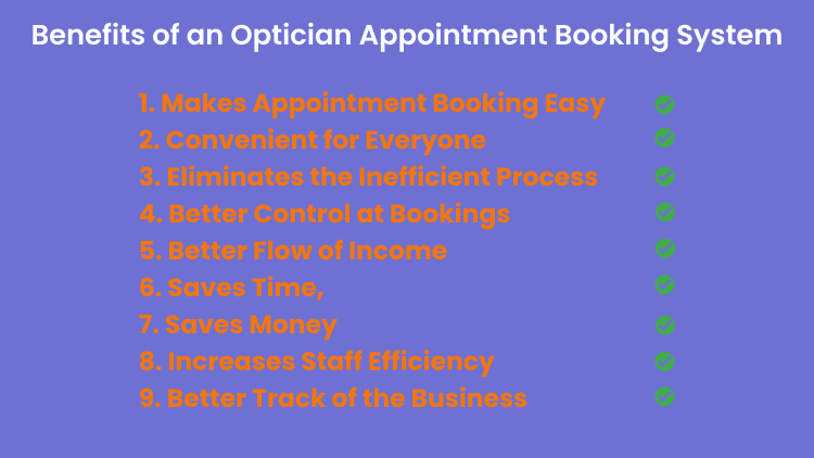 Benefits of an optician appointment booking system