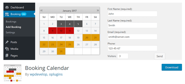 Booking Calendar plugin for WordPress to create a hotel booking system