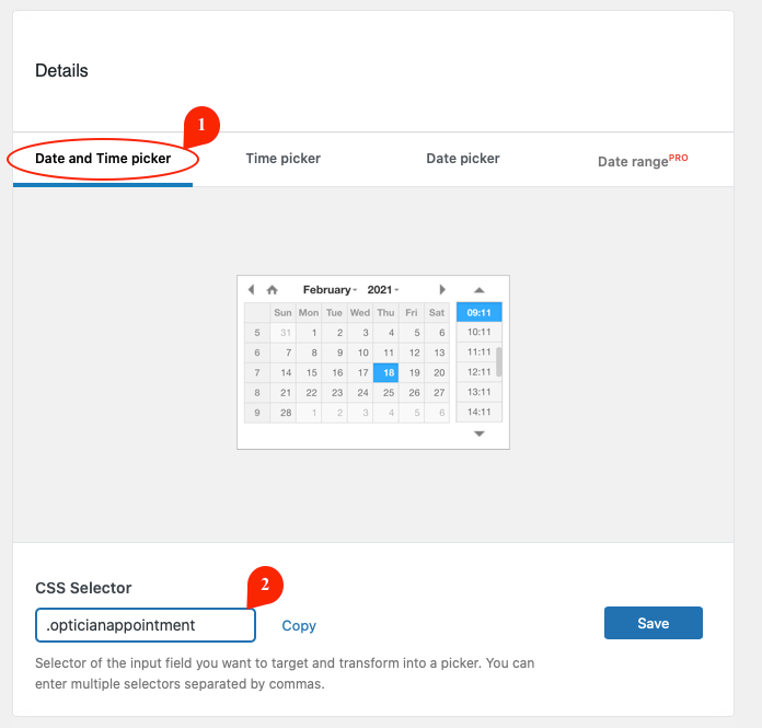 Choosing Date and Time picker with CSS Selector