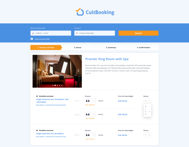 Cultbooking hotel booking system example