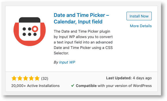 Date and Time Picker WordPress plugin for an appointment booking system