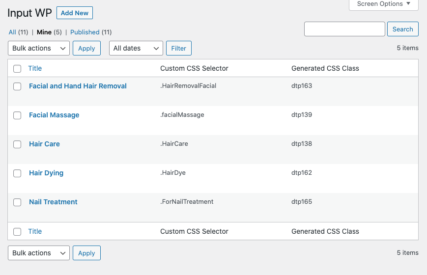 Custom post type support for fields of an online salon booking system in WordPress