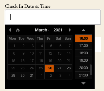 Date and time picker with dark theme