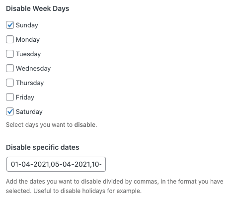 Disable Specific Days or Dates