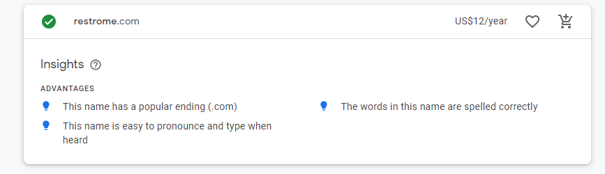 Google insights on a domain name for an online restaurant reservation system