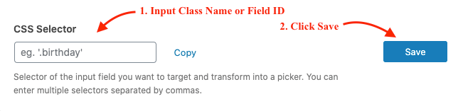 Input class name or field id