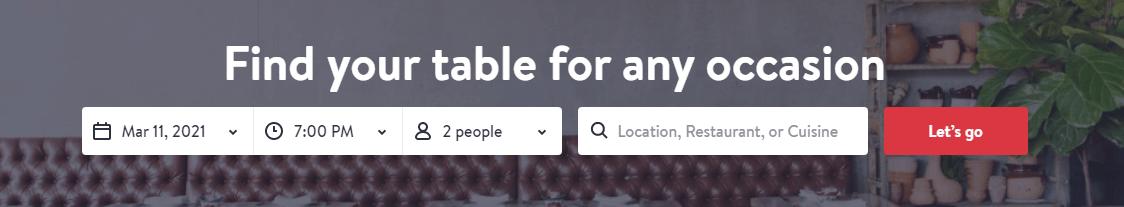Online Restaurant Reservation System with fields