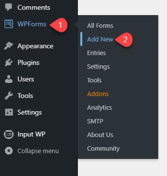 Add new form using WPForms