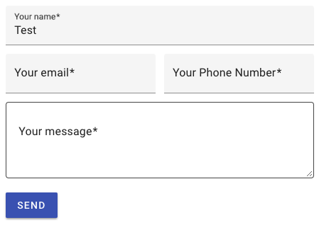 Contact form 7 example with material design