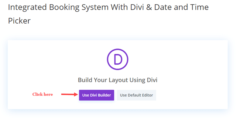 Created a new page with Divi Builder
