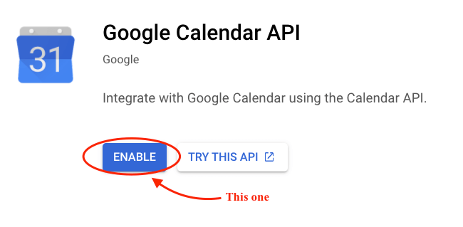 Enabling Google Calendar API