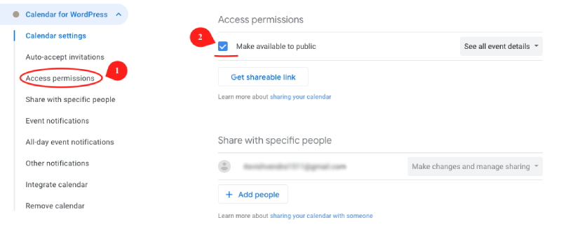 Enabling access permission in Google Calendar
