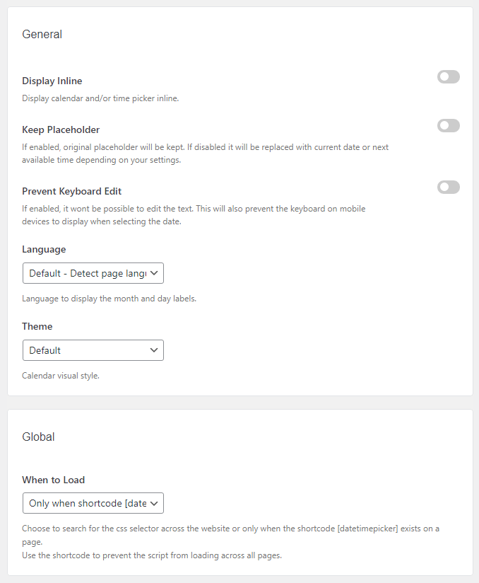 General settings of Date and Time Picker