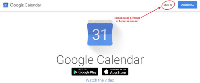 Logging in to Google Calendar