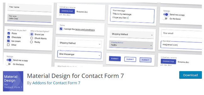 Material Design for Contact Form 7 add ons