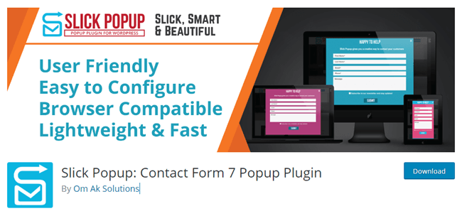 Slick Popup Contact Form 7 Add on